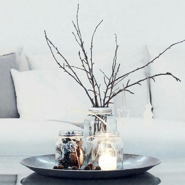 winter branches glass vase