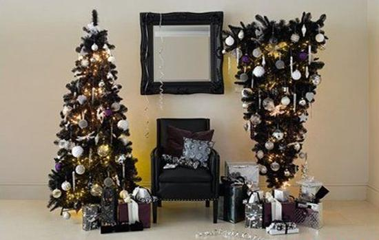 christmas table decoration in gothic style black christmas trees and home furnishings in black color