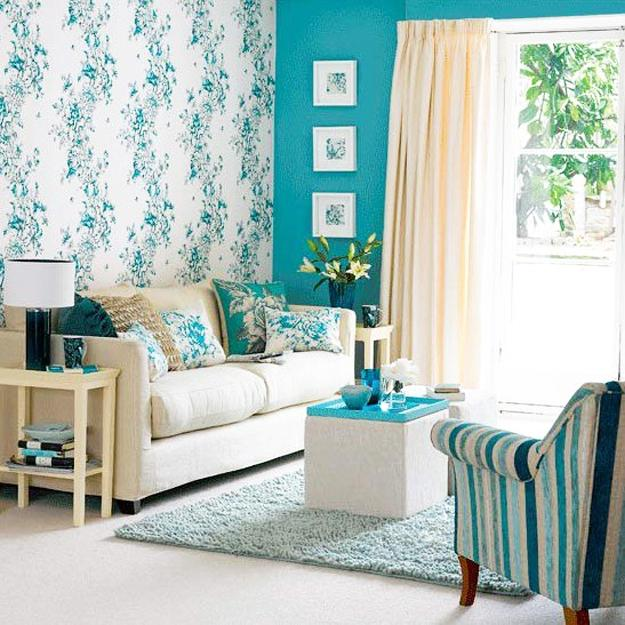 interior decorating with light blue green color