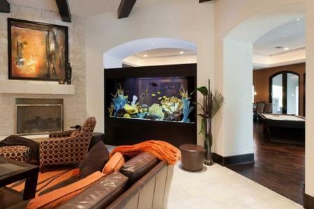 Living room design with a large fish aquarium interior decorating & Home Staging Tips for Room with Aquarium