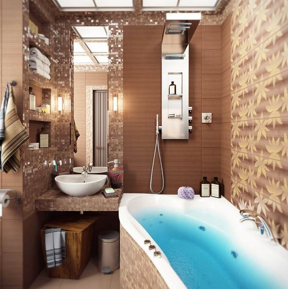 Bathroom Decorating in Blue-Brown Colors, Chocolate ...