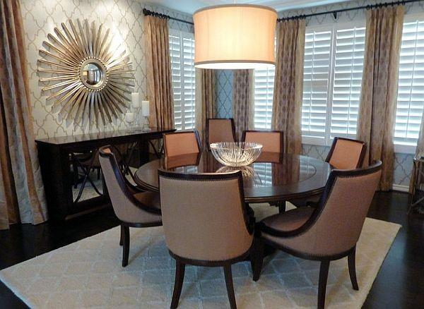 Simple Dining Room Decorating With Round Table And Chairs In White Color