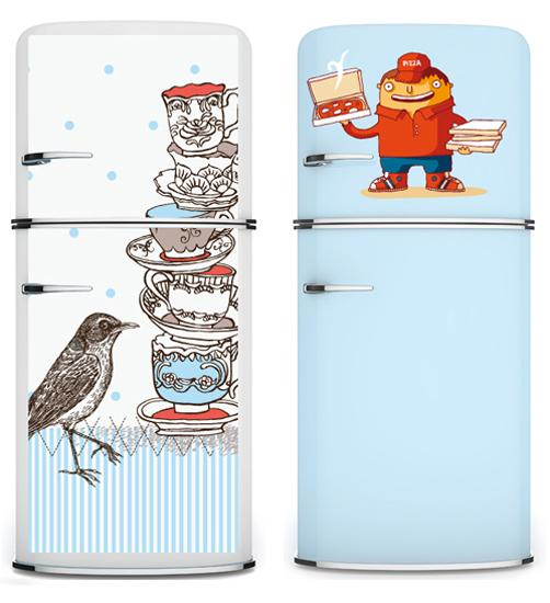 Kitchen Decorating To Dress Up The Fridge With Wall Stickers And Paint