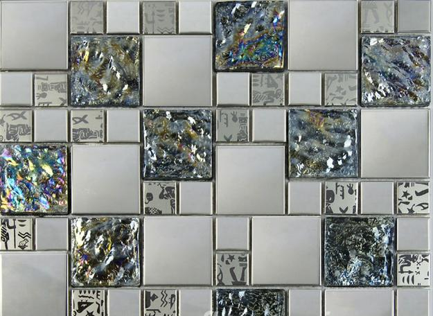 Metal Tiles In Silver Gray Color For Kitchen Design