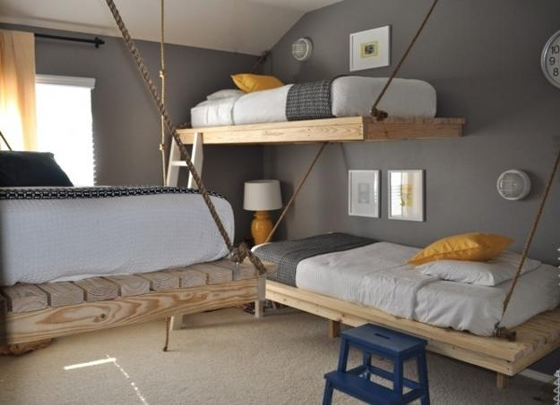 Hanging Loft Bed Design, Space Saving Furniture For Small Bedroom Design
