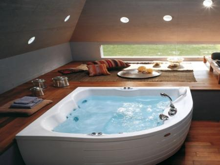 Modern bathroom decorating with beautiful bathtub and for Bathroom jacuzzi decor
