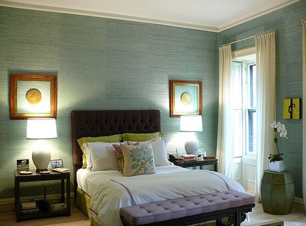 Bedroom Decorating With Pastel Colors Soft Turquoise Blue Green Walls And White Bedding Fabrics