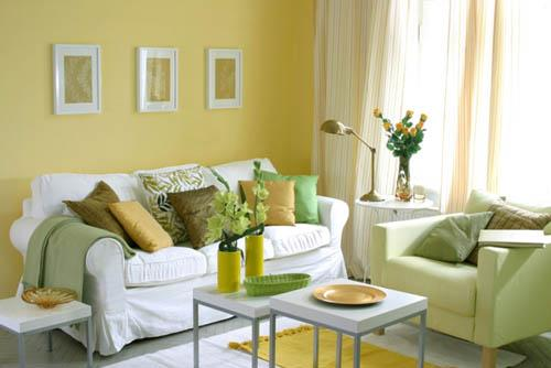 Green And Yellow Color For Living Room Design With White Furniture
