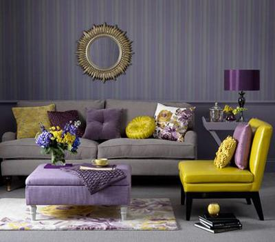 Purple And Yellow Color Scheme For Living Room Design, Purple Wallpaper  With Stripes, Purple And Yellow Furniture Upholstery Fabrics