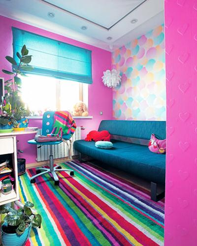 Colorful Room Decorating With Bright Contrasts Stripped Rug Pink Walls Blue Home Furnishings