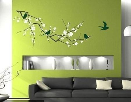 Green Wall Decorating With Black And White Vinyl Stickers Birds Images On Blooming Tree Branches