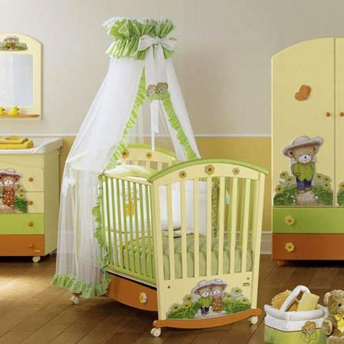 White Soft Yellow And Green Color Scheme For Baby Room Decorating