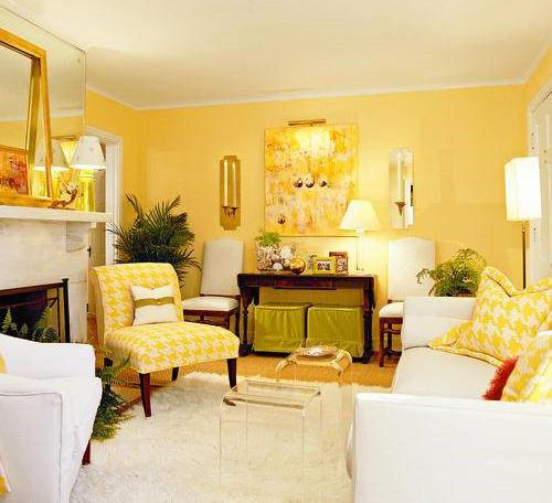 yellow color decorating interior design and color psychology yellow paint and living room furniture upholstery fabric - Bedroom Color Psychology