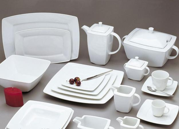 White Dinnerware Sets With Square Shaped Items