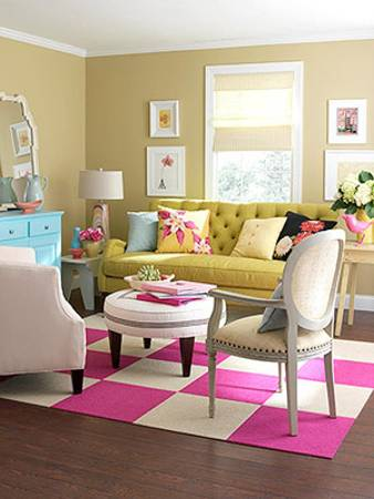 Eclectic Style With Elements Of Bohemian Decor, Modern Living Room Design  With Light Blue, Yellowish Green And Pink Accents