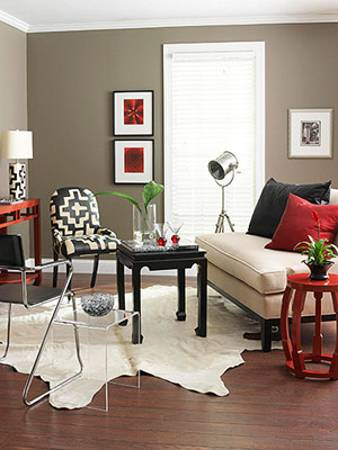 Modern Living Room Design In Contemporary Casual Style With Bright Red  Accents