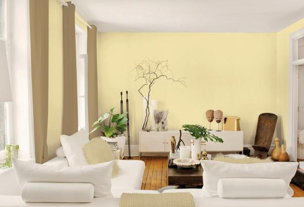 Cream Wall Paint White Furniture Green Accents Living Room Decorating Ideas