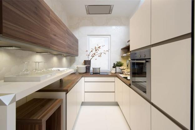 White Cream And Brown Kitchen Design