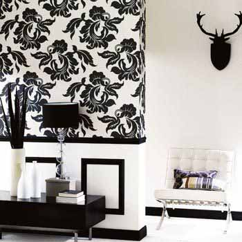 Black White Rooms Modern Living Room Design Flower Wallpaper And Wall Painting In