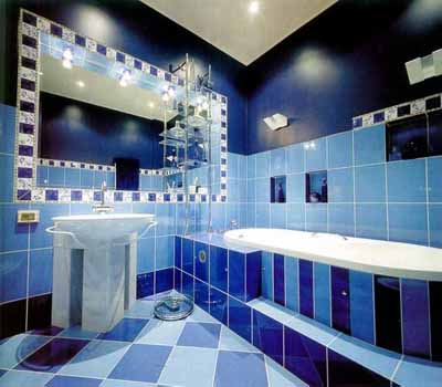 Large Wall Mirror And Lights, Purple Blue Ideas For Bathroom Decorating  With Tile, 3d Design