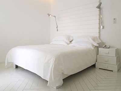 White Painting, Furniture, Lamps And Bedding, White Bedroom Decorating Ideas,  Light Interior Design