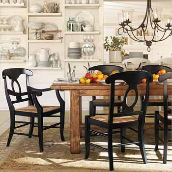 Black Dining Table And 6 Chairs Made Of Solid Wood Chandelier Retro Modern