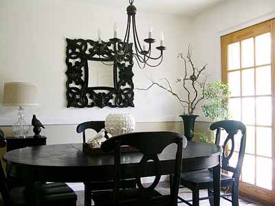 Black And White Dining Room Decorating Ideas Wood Chairs Round Table