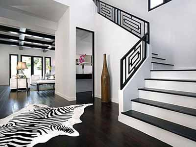 Modern Interior Color Schemes, Black And White Painting Ideas, Stairs And  Floor Decoration, Bright Room Design