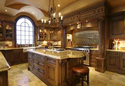 Traditional Kitchen Designs, Wooden Kitchen Cabinets, Wrought Iron  Chandelier