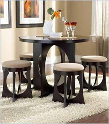 Contemporary Dining Furniture Design Wooden Stools With Soft Cushions
