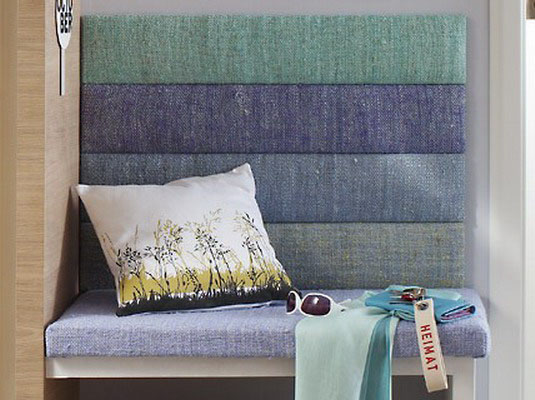 entryway bench upholstery fabric with stripes in light blue and green colors