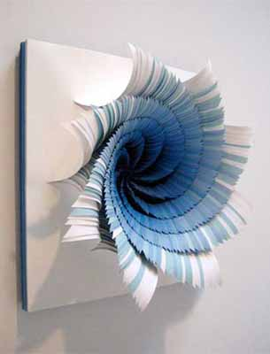 3d paper craft ideas for making blue paper flowers for wall decoration