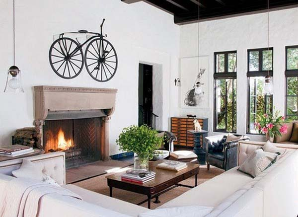 antique bike storage racks above the fireplace and modern interior decorating