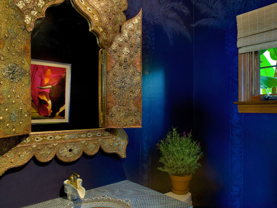 moroccan style bathroom decorating ideas include moroccan mirror frame made of forged metal