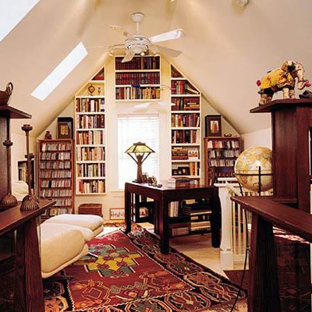 attic small spaces are great for home library design with built in book shelves