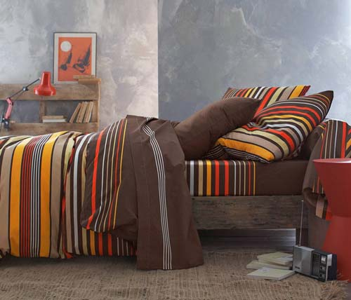 broqn bedding sets with yellow orange and black stripes for modern bedroom decorating