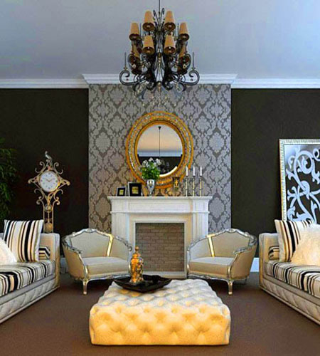 chinese zodiac dragon year living room decorating with golden mirror and black wall paint