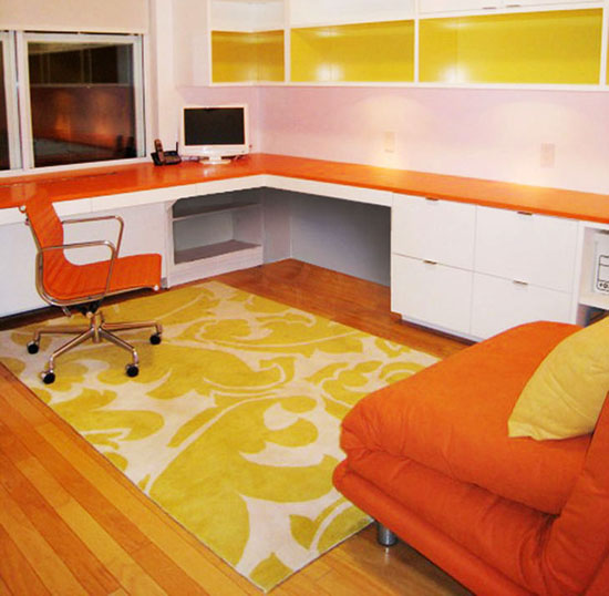 bright modern rug in yellow and white colors for colorful home office design