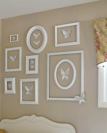 White Decorating Ideas Picture Frames For Bright Wall Decor Light Brown Paint