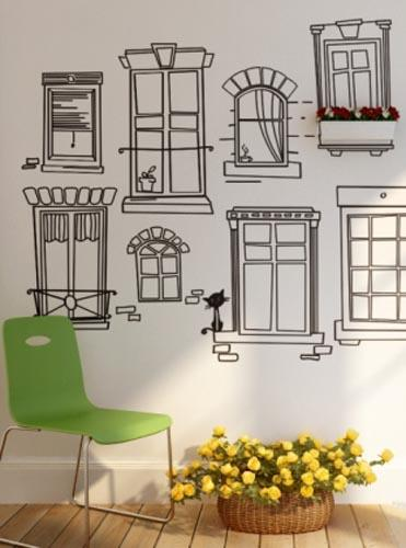 vinyl wall stickers with window frames and flower boxes