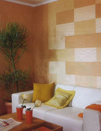 Wall Paint Styles: Modern Wall Decor In Patchwork Fabric Style, Wall Design