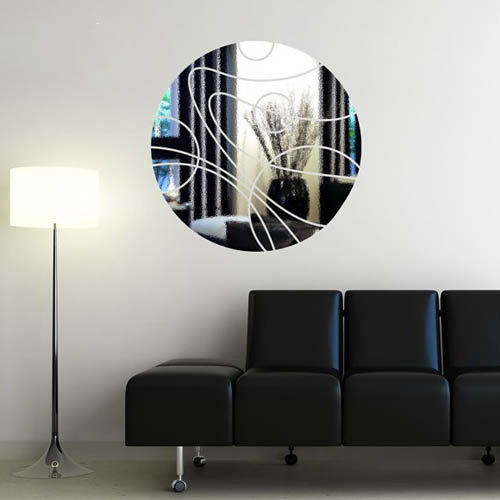 round mirror sticker for modern wall decor ideas and light room design for home staging