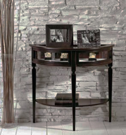 round narrow console table and empty wall decoration ideas