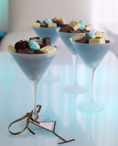 chocolate candies in cocktail glasses for table decoration