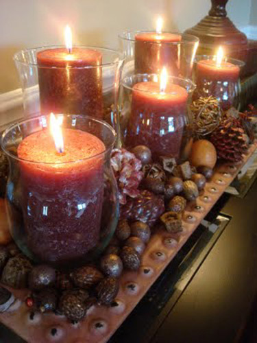 orange candles are fall ideas for thanksgiving decorating