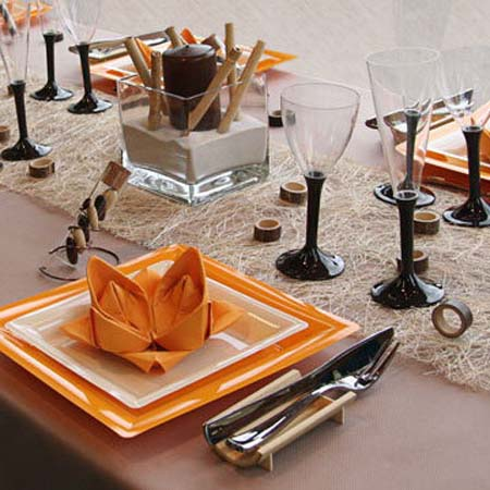 decorating ideas for fall holidays table decoration in black and orange colors. Black Bedroom Furniture Sets. Home Design Ideas