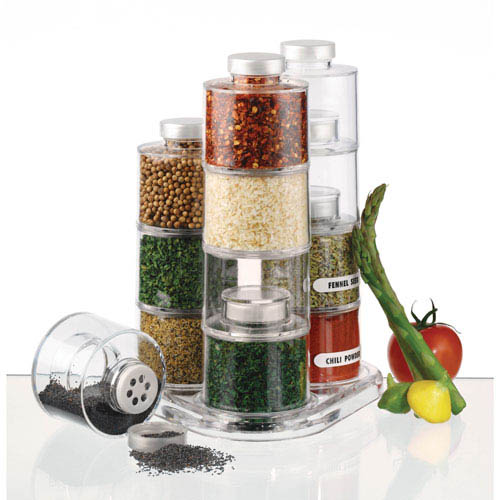 Contemporary Spice Jars, Tins And Bottles Close Firm. Wooden And Ceramic  Spice Containers Are Charming Kitchen Decorating Ideas, That Add Unique  Designs And ...