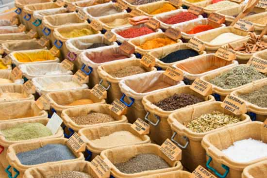 exotic spices for ethnic cuisine are sold on the market