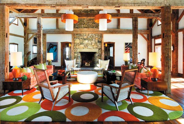 colorful floor rug for modern interior design of an old barn house