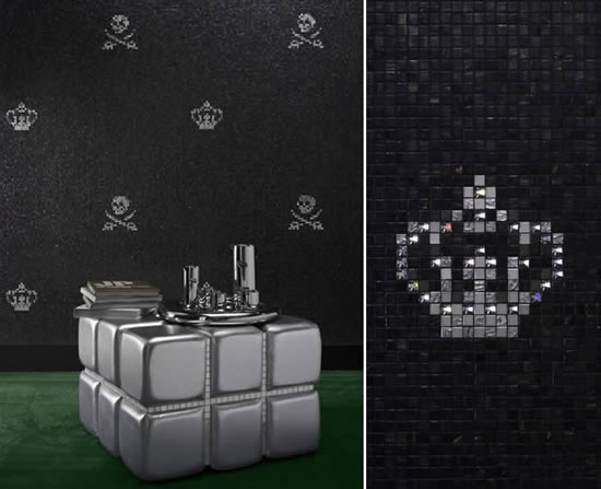 Bathroom tiles with crystals luxurious modern wall decoration - Swarovski fliesen ...